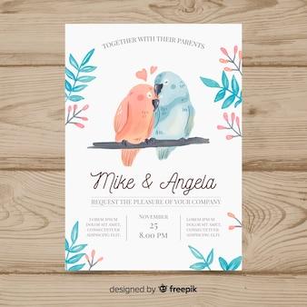水彩動物の結婚式の招待状のテンプレート