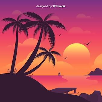 Пляж закат пейзажный фон