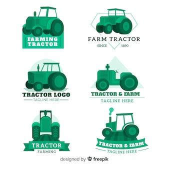 Плоская зеленая коллекция логотипа фермы