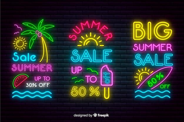 Неоновые летние распродажи баннеров