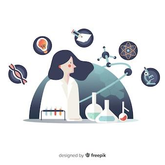 手描きの化学者の背景