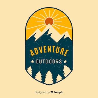 ビンテージの冒険のロゴの背景