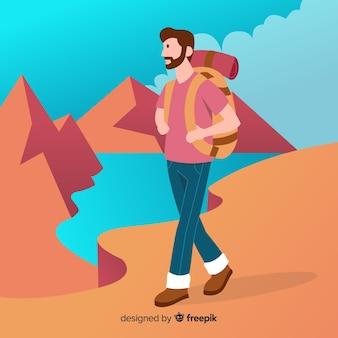 Исследователь с фоном рюкзак