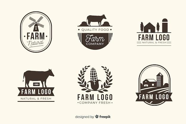 Плоская черная коллекция логотипа фермы