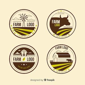 Плоская коричневая коллекция логотипа фермы