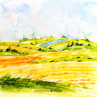 水彩ファーム風景の背景