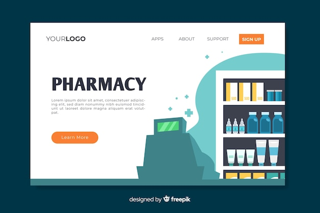 カラフルな薬局のランディングページ