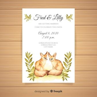 Шаблон приглашения свадьба акварель животных