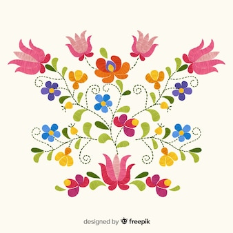 Вышивка мексиканским цветочным фоном