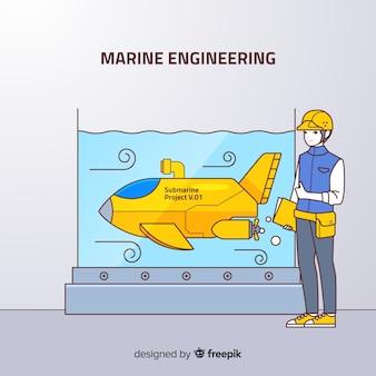 Плоский морской инженерный фон