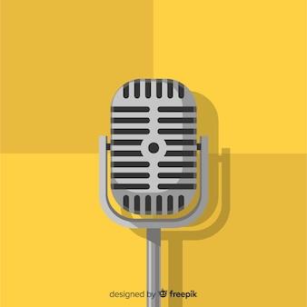 Плоский ретро фон микрофона
