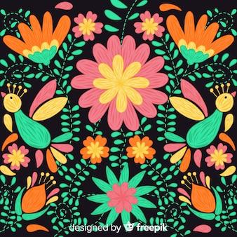 カラフルな刺繍メキシコの花の背景