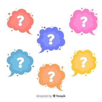 Плоский знак вопроса в наборе речи пузырь