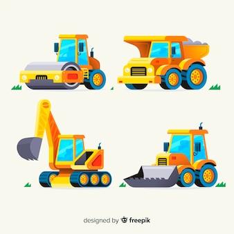 Коллекция плоских строительных грузовиков