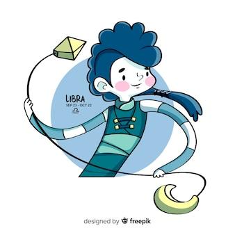 手描きの戦士天秤座キャラクター