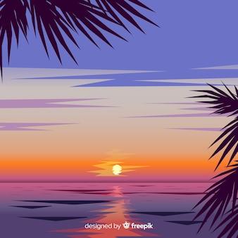 Реалистичный пляж закат пейзаж