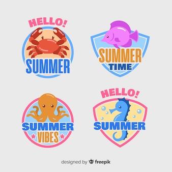 Коллекция плоских летних этикеток