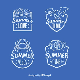 Коллекция винтажных плоских летних этикеток