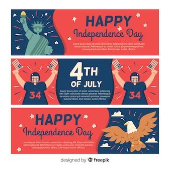 Плоские баннеры дня независимости