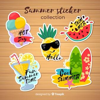 Коллекция красочных летних стикеров