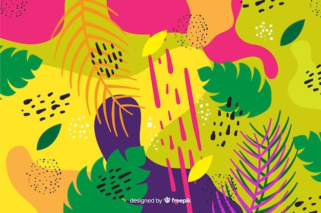 Ручной обращается тропический фон листья