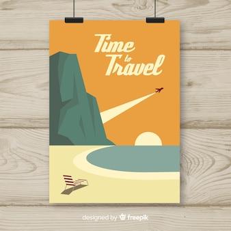 Плоский винтажный туристический плакат