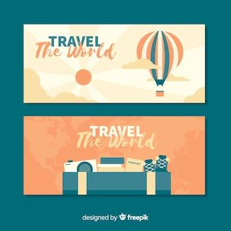 Плоский туристический баннер
