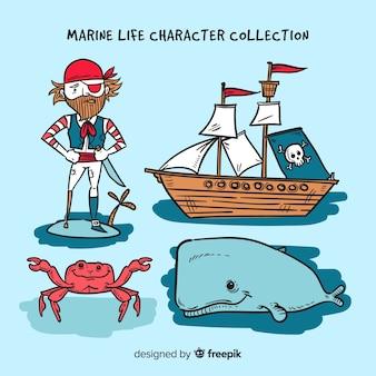 Коллекция персонажей морской жизни