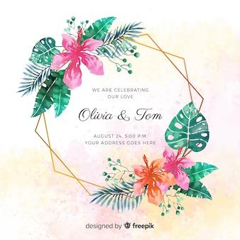 水彩の熱帯結婚式の招待状
