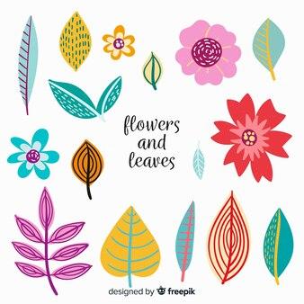 手描きの植物コレクション