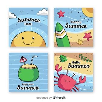 Коллекция рисованной летней карты