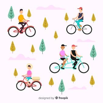 公園で自転車に乗る人
