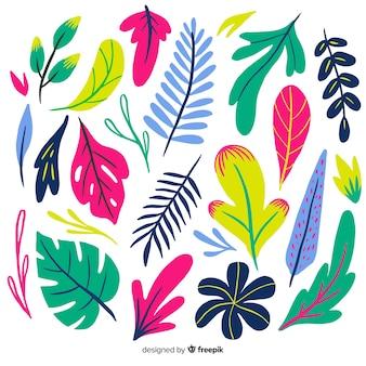 Коллекция рисованной тропических разноцветных листьев
