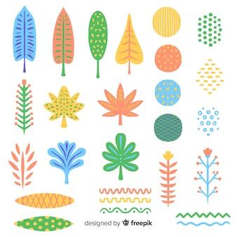Абстрактные рисованной цветы и листья