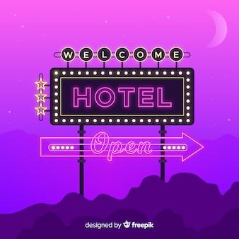 Реалистичная гостиница неоновая вывеска фон