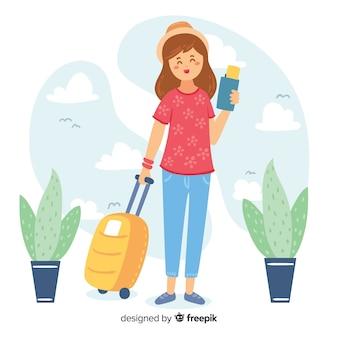 女の子の旅行者