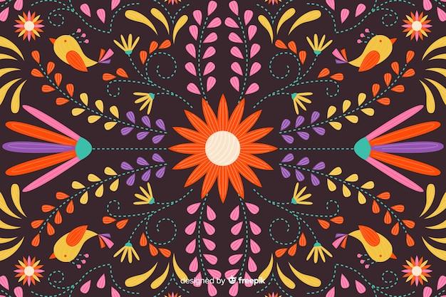 刺繍メキシコの花の背景