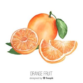 水彩のリアルなオレンジ色の背景