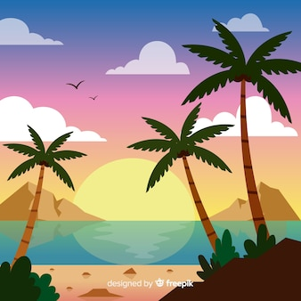 Градиент пляжный закат пейзаж
