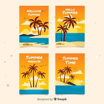 平らな夏カードのコレクション