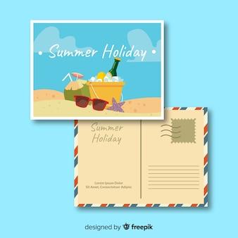 平らな夏の休日はがきテンプレート