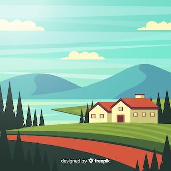 Плоская ферма пейзаж