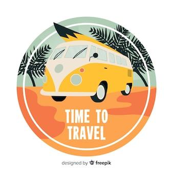 平らなビンテージ旅行のロゴ