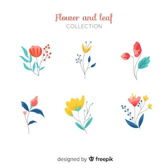 Плоские цветы и листья
