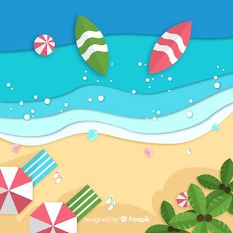 紙のスタイルでビーチトップビュー
