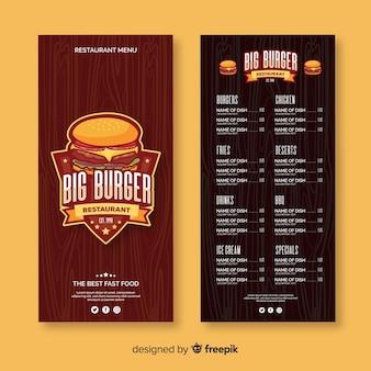 Шаблон меню ресторана плоский гамбургер