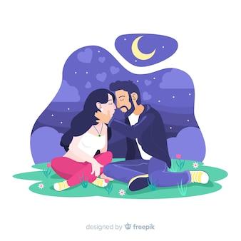 自然の中で幸せなカップル