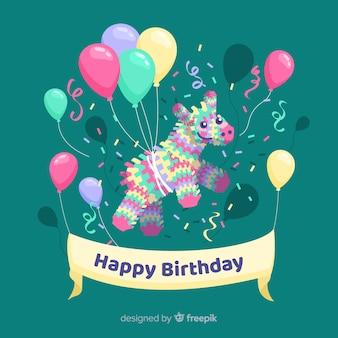 風船でフラットの幸せな誕生日の背景