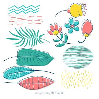 Рисованной цветы и листья