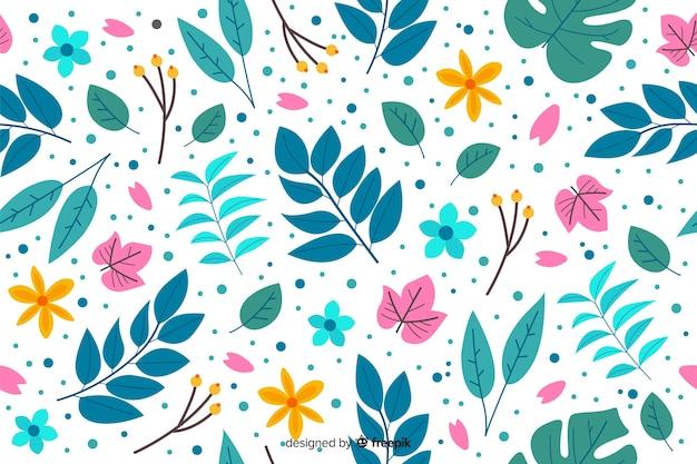 手描きのカラフルな花の背景
